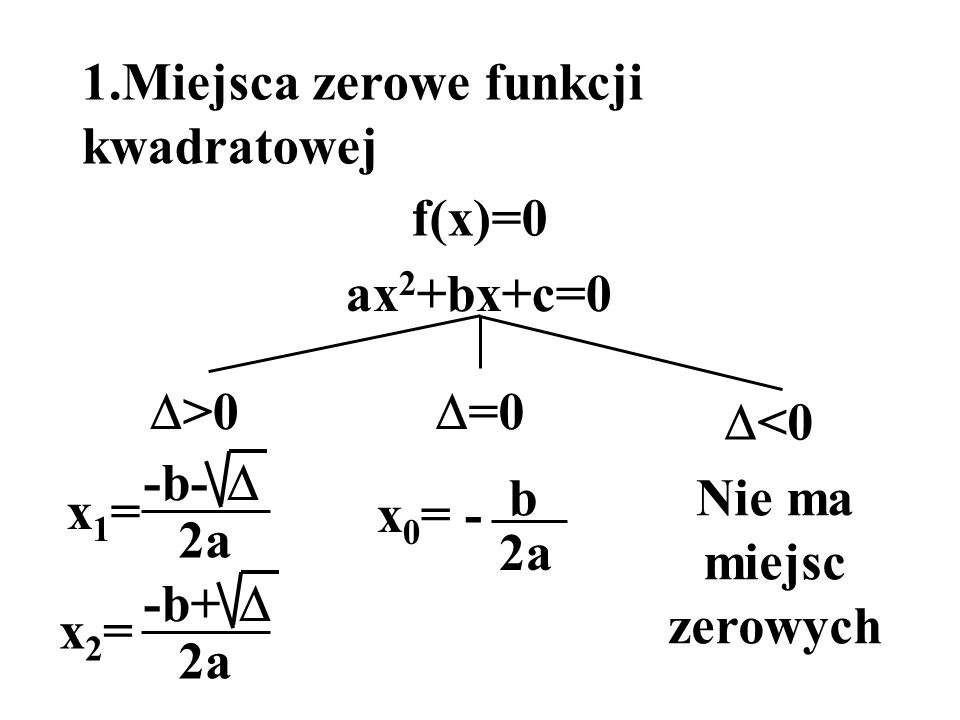 1.Miejsca zerowe funkcji kwadratowej