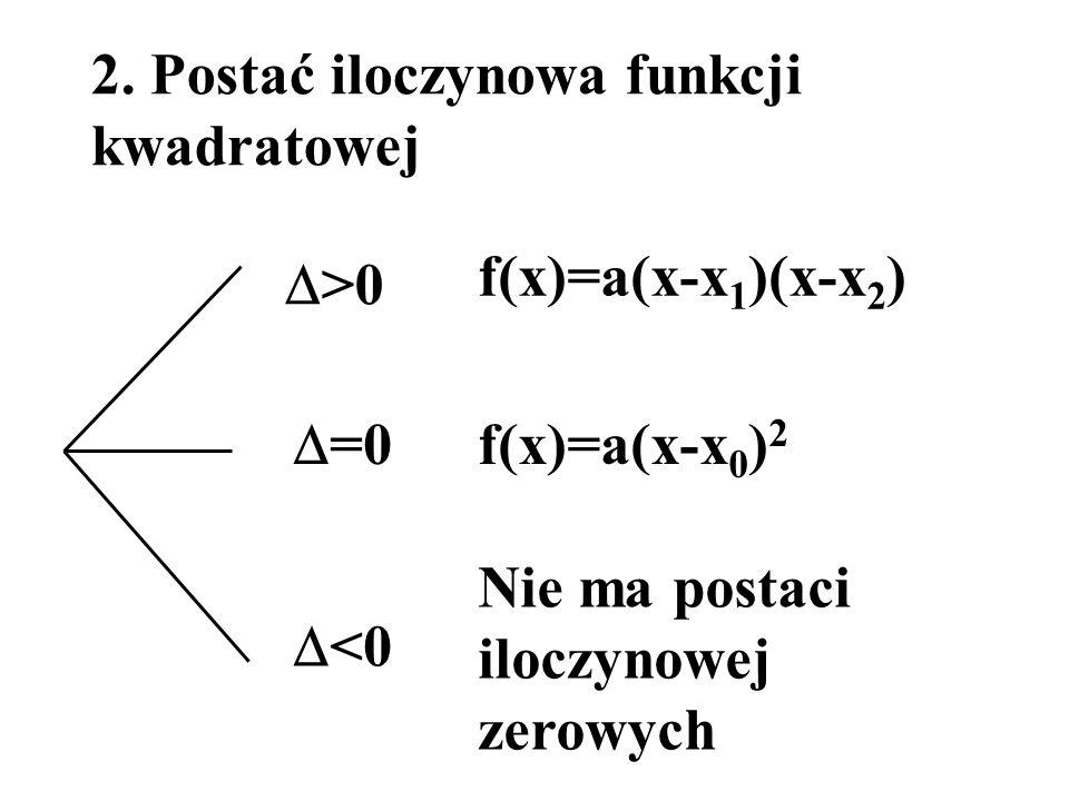 2. Postać iloczynowa funkcji kwadratowej