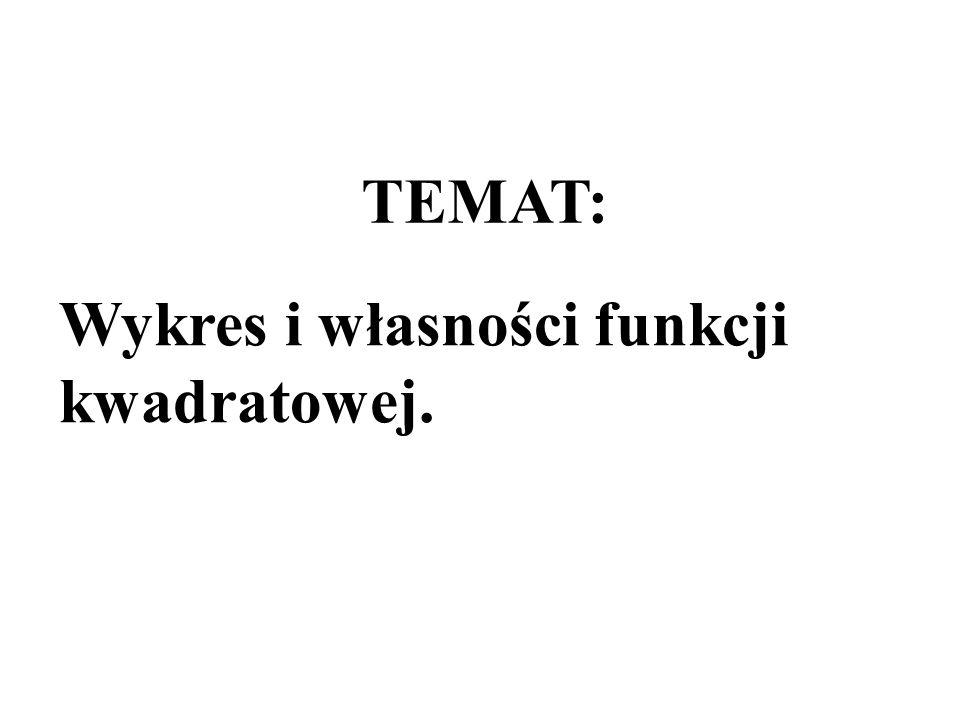 TEMAT: Wykres i własności funkcji kwadratowej.
