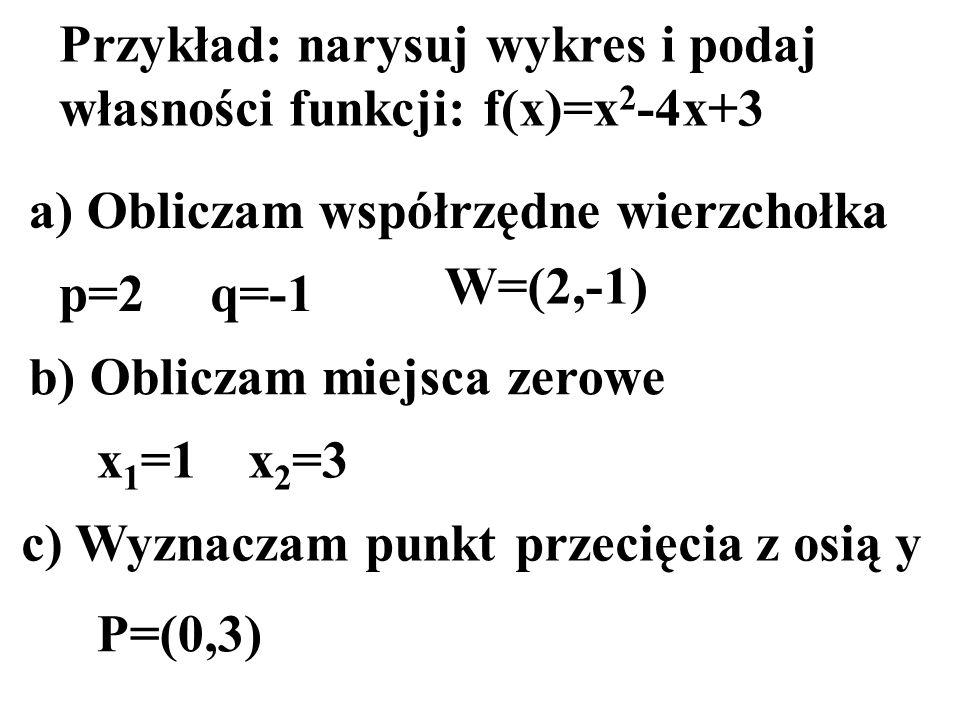 Przykład: narysuj wykres i podaj własności funkcji: f(x)=x2-4x+3