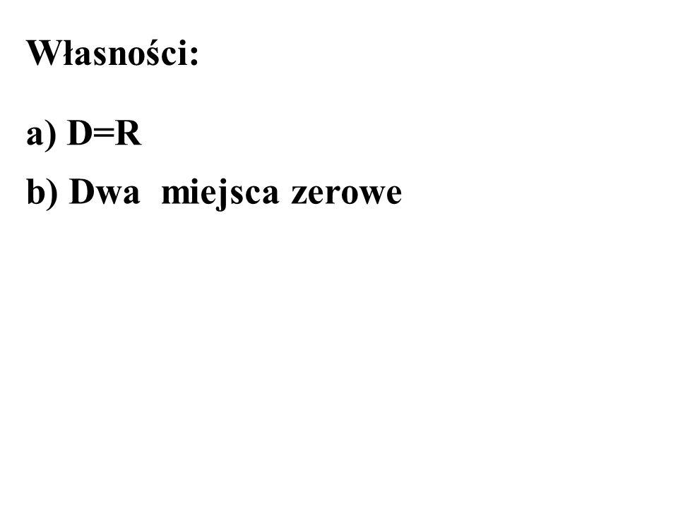 Własności: a) D=R b) Dwa miejsca zerowe