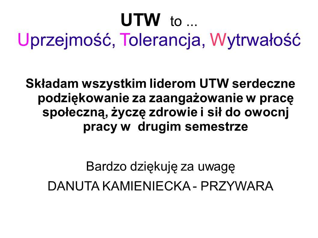 UTW to ... Uprzejmość, Tolerancja, Wytrwałość