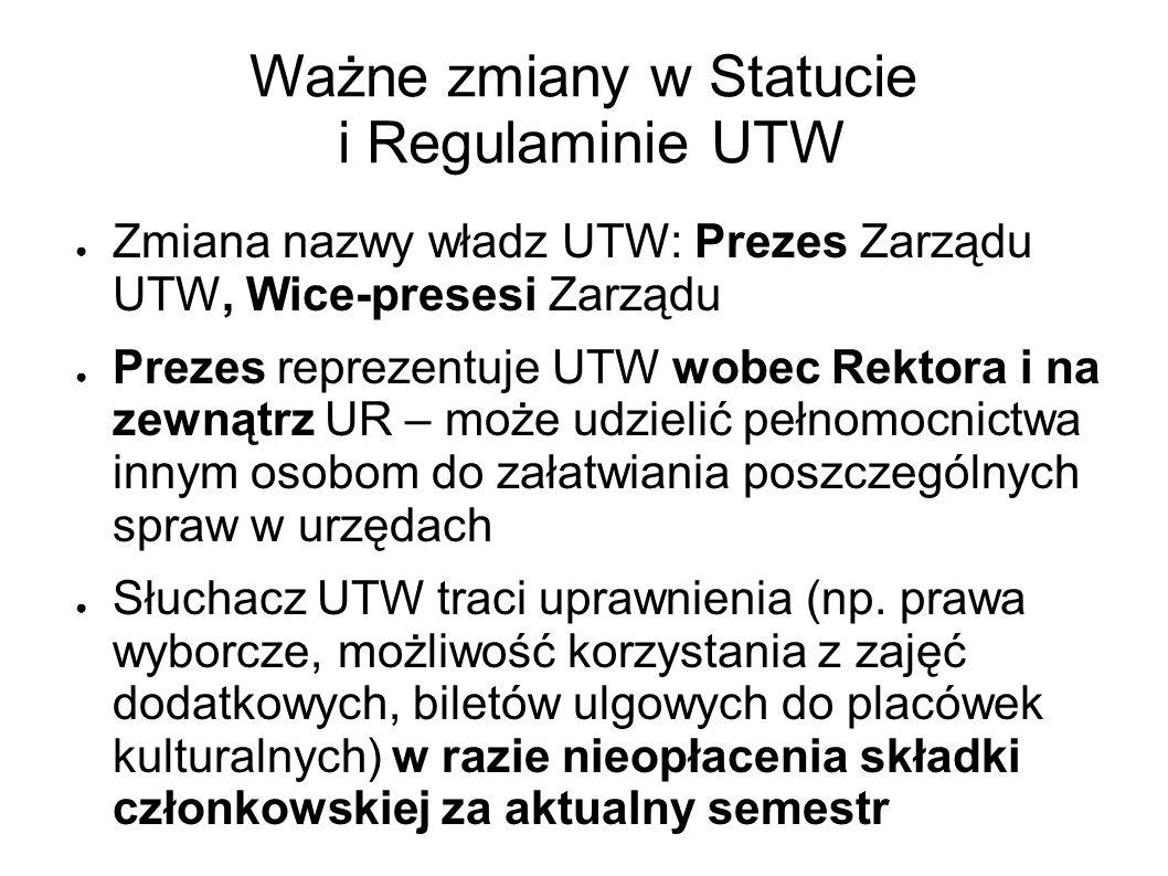Ważne zmiany w Statucie i Regulaminie UTW