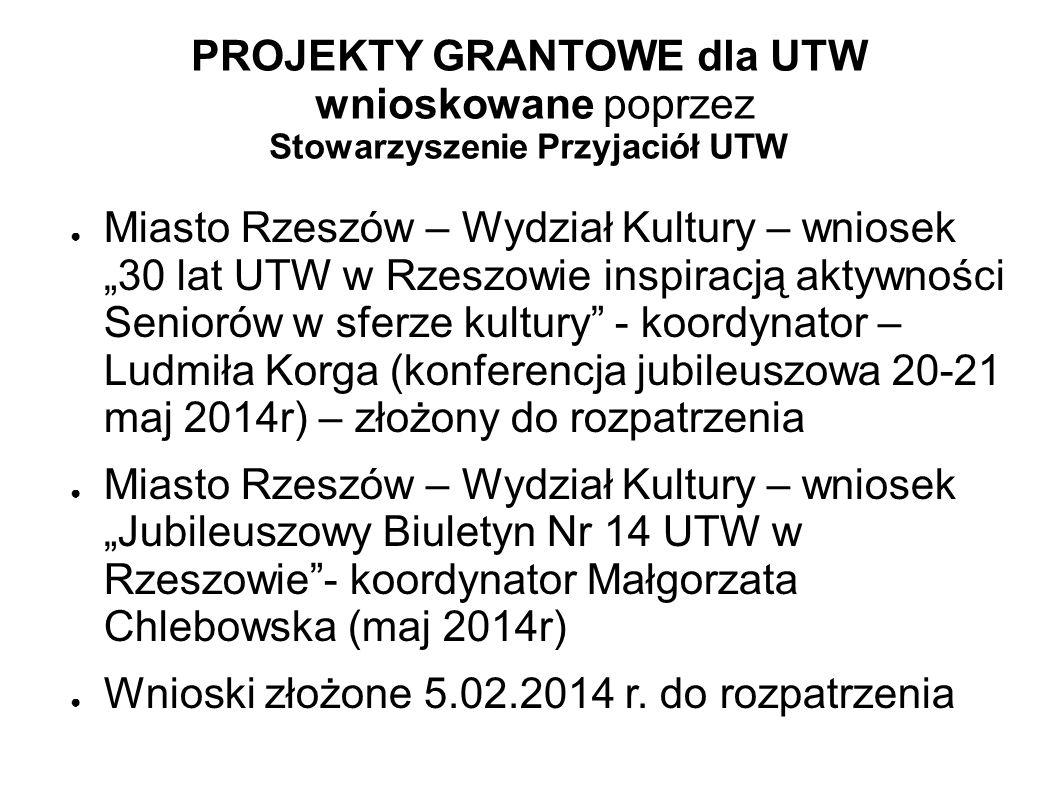 PROJEKTY GRANTOWE dla UTW wnioskowane poprzez Stowarzyszenie Przyjaciół UTW