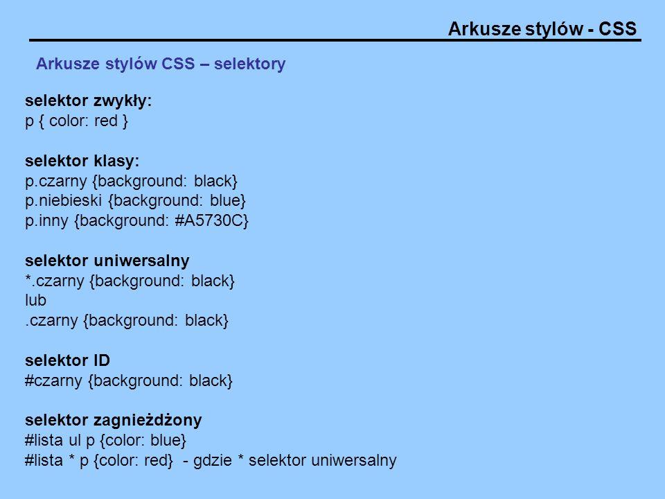 Arkusze stylów CSS – selektory
