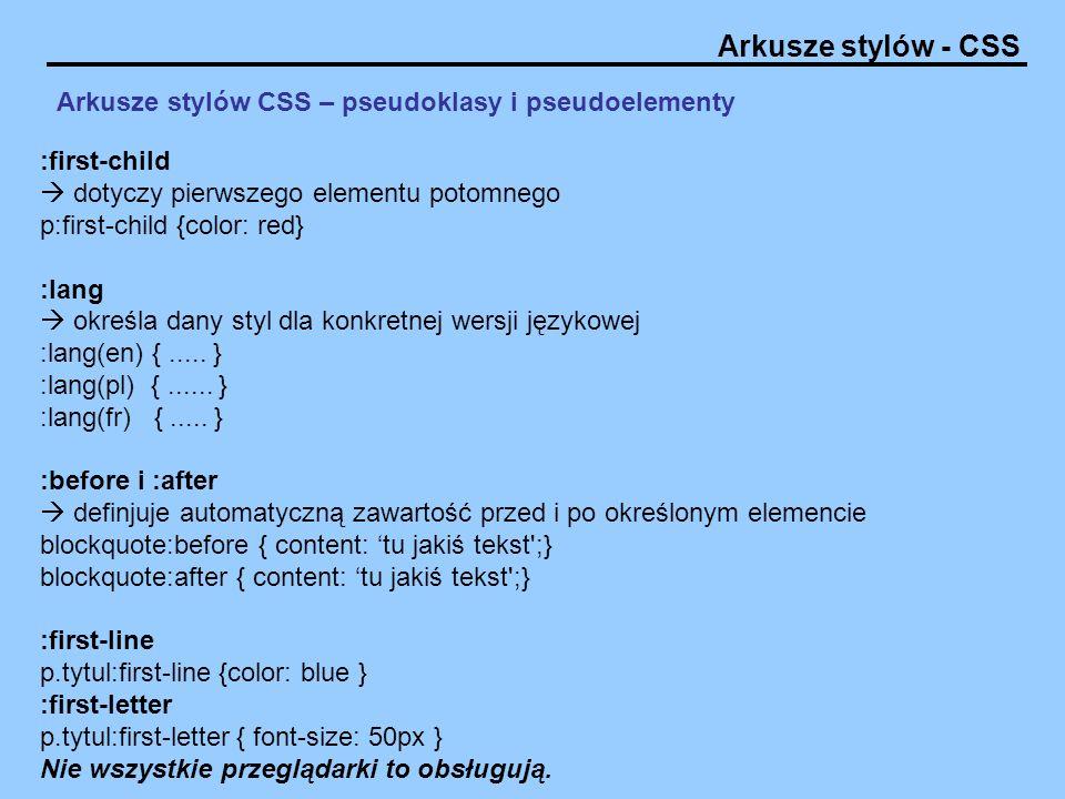 Arkusze stylów CSS – pseudoklasy i pseudoelementy
