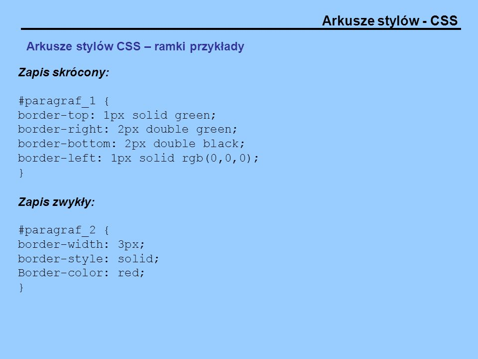 Arkusze stylów CSS – ramki przykłady