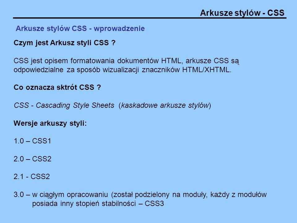 Arkusze stylów CSS - wprowadzenie