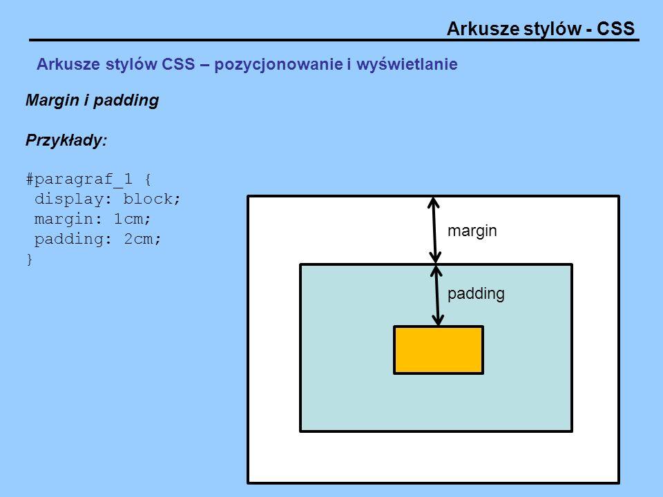 Arkusze stylów CSS – pozycjonowanie i wyświetlanie