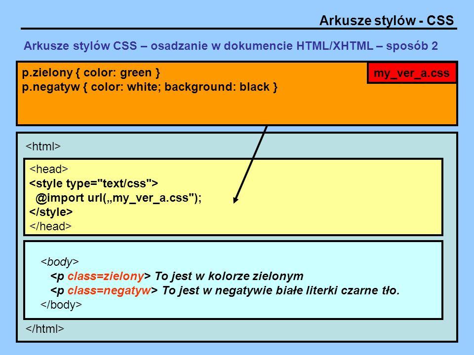 Arkusze stylów CSS – osadzanie w dokumencie HTML/XHTML – sposób 2