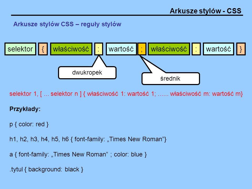Arkusze stylów CSS – reguły stylów