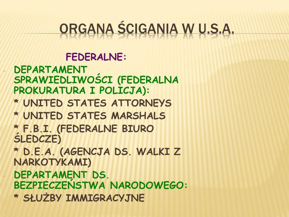 ORGANA ŚCIGANIA W U.S.A. FEDERALNE: