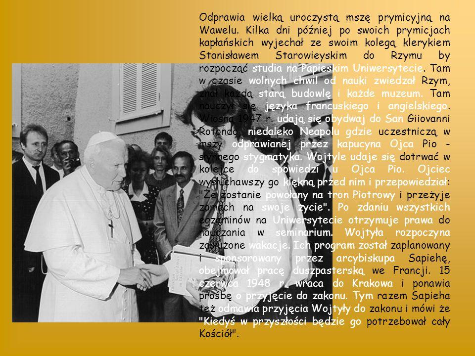 Odprawia wielką uroczystą mszę prymicyjną na Wawelu