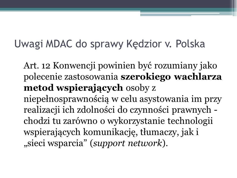 Uwagi MDAC do sprawy Kędzior v. Polska