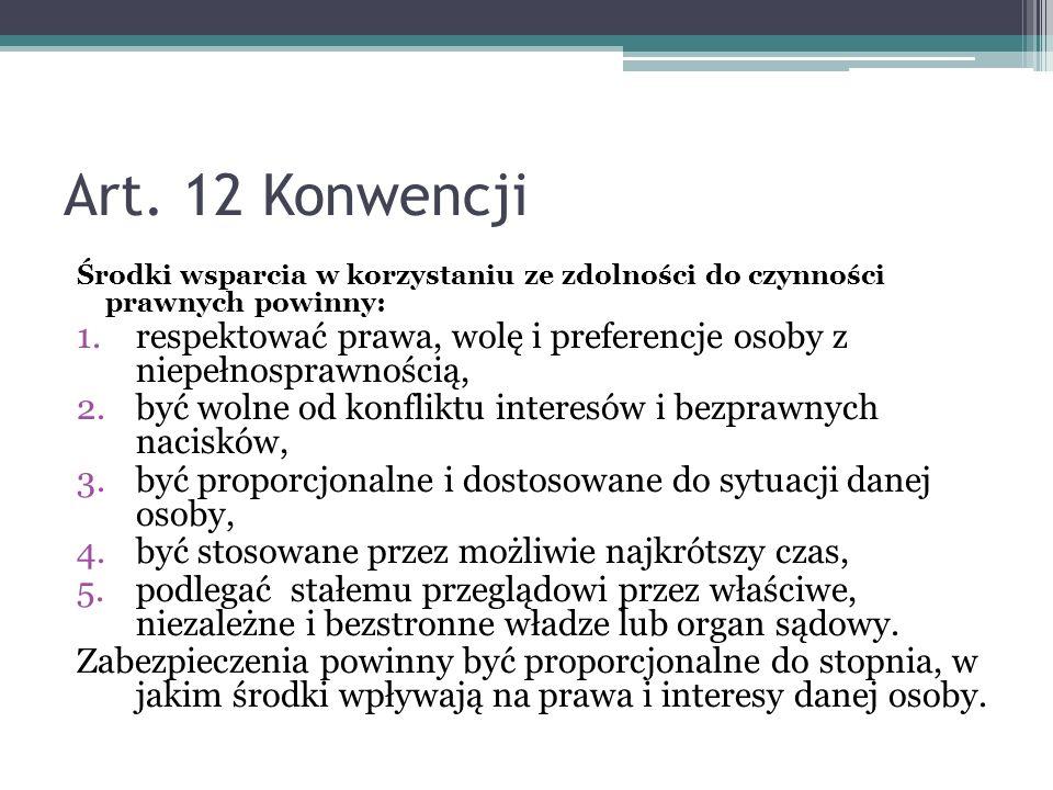 Art. 12 Konwencji Środki wsparcia w korzystaniu ze zdolności do czynności prawnych powinny: