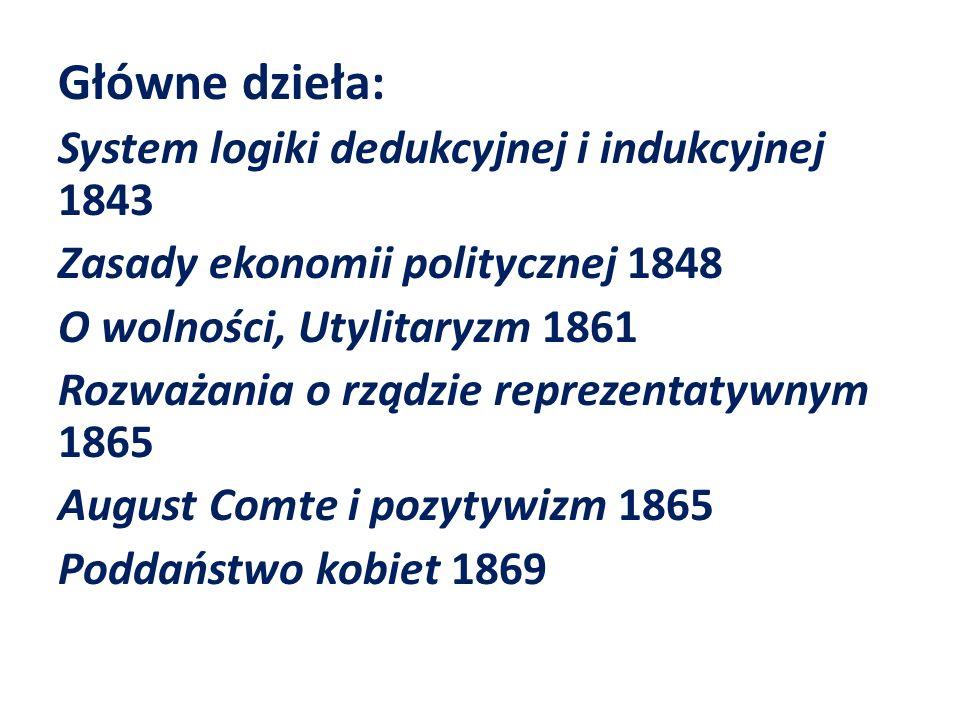 Główne dzieła: System logiki dedukcyjnej i indukcyjnej 1843