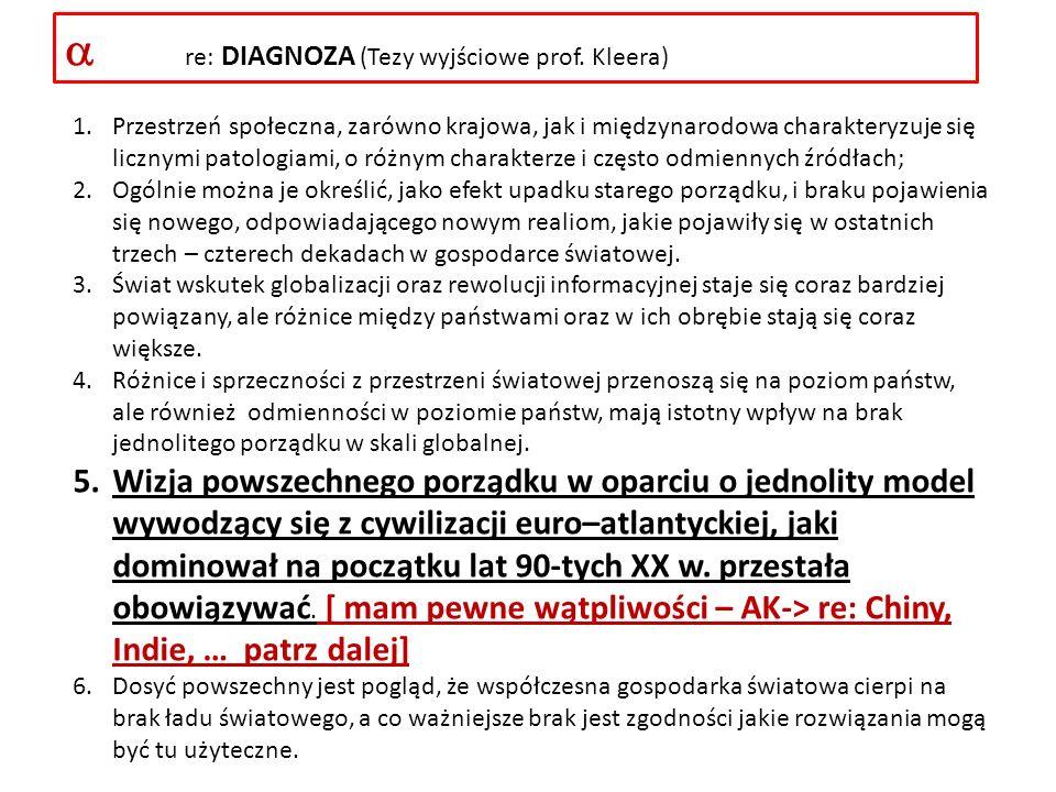  re: DIAGNOZA (Tezy wyjściowe prof. Kleera)