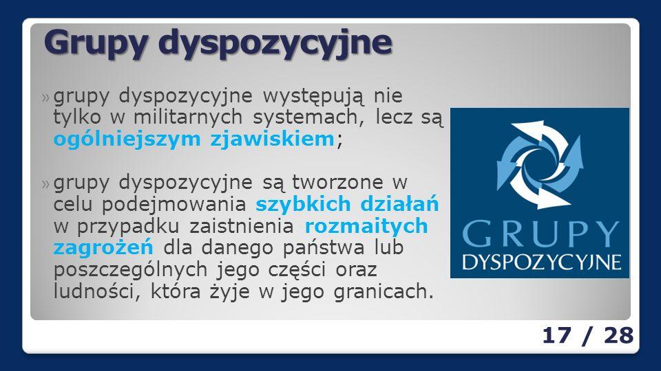 Grupy dyspozycyjne grupy dyspozycyjne występują nie tylko w militarnych systemach, lecz są ogólniejszym zjawiskiem;