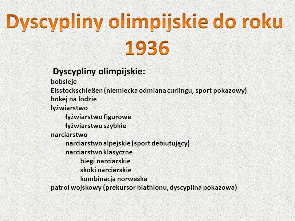 Dyscypliny olimpijskie do roku