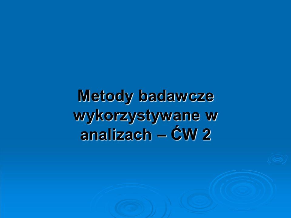 Metody badawcze wykorzystywane w analizach – ĆW 2