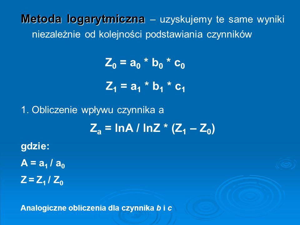 Z0 = a0 * b0 * c0 Za = lnA / lnZ * (Z1 – Z0)