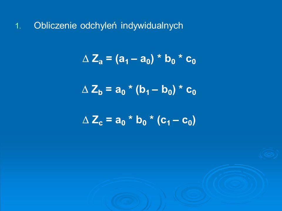  Za = (a1 – a0) * b0 * c0  Zb = a0 * (b1 – b0) * c0