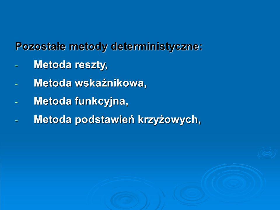 Pozostałe metody deterministyczne: