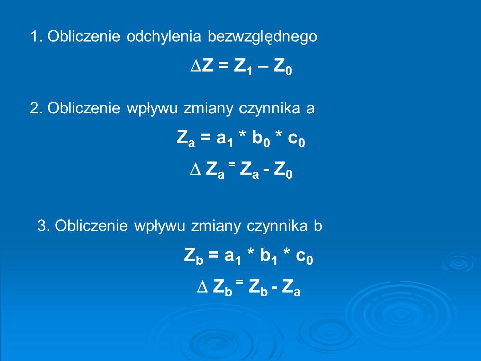 Z = Z1 – Z0 Za = a1 * b0 * c0  Za = Za - Z0 Zb = a1 * b1 * c0