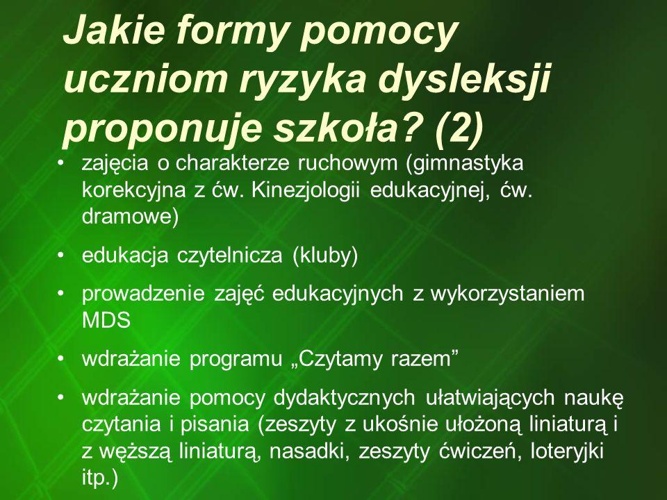 Jakie formy pomocy uczniom ryzyka dysleksji proponuje szkoła (2)