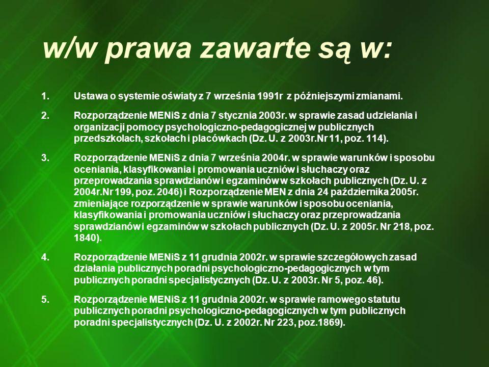 w/w prawa zawarte są w: Ustawa o systemie oświaty z 7 września 1991r z późniejszymi zmianami.