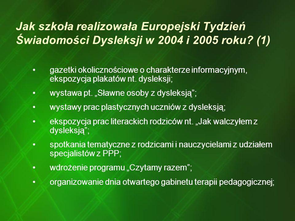 Jak szkoła realizowała Europejski Tydzień Świadomości Dysleksji w 2004 i 2005 roku (1)