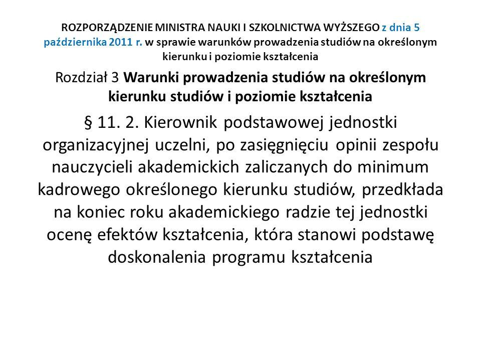 ROZPORZĄDZENIE MINISTRA NAUKI I SZKOLNICTWA WYŻSZEGO z dnia 5 października 2011 r. w sprawie warunków prowadzenia studiów na określonym kierunku i poziomie kształcenia