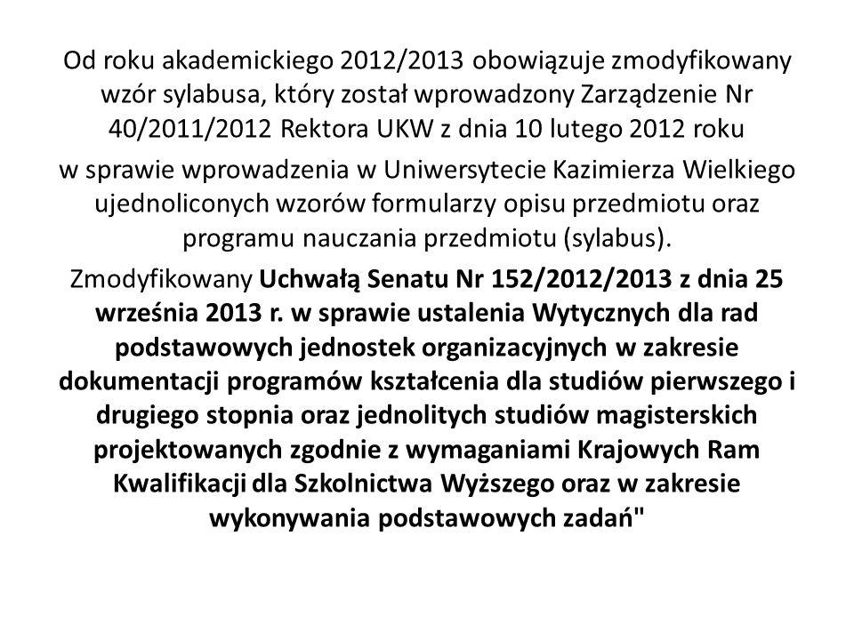 Od roku akademickiego 2012/2013 obowiązuje zmodyfikowany wzór sylabusa, który został wprowadzony Zarządzenie Nr 40/2011/2012 Rektora UKW z dnia 10 lutego 2012 roku w sprawie wprowadzenia w Uniwersytecie Kazimierza Wielkiego ujednoliconych wzorów formularzy opisu przedmiotu oraz programu nauczania przedmiotu (sylabus).