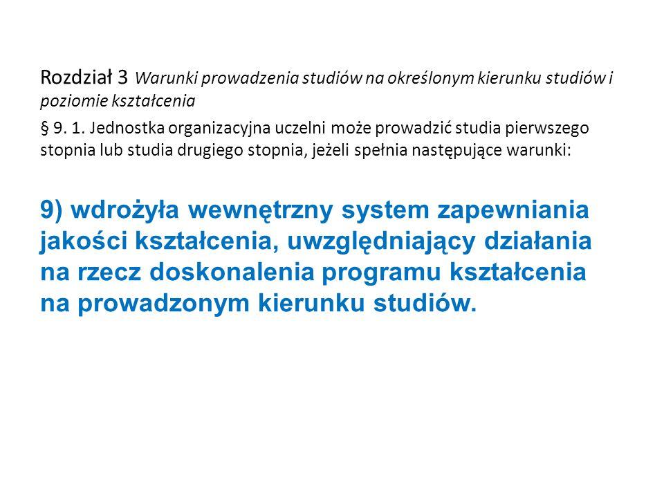 Rozdział 3 Warunki prowadzenia studiów na określonym kierunku studiów i poziomie kształcenia