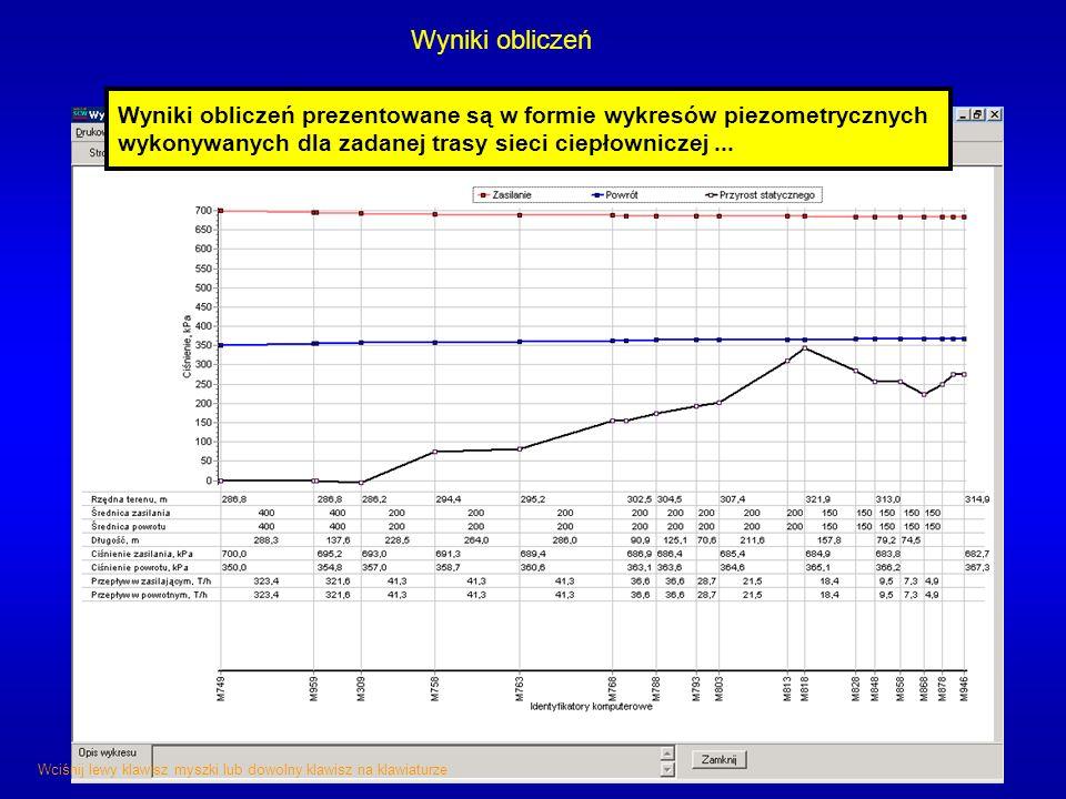 Wyniki obliczeń Wyniki obliczeń prezentowane są w formie wykresów piezometrycznych wykonywanych dla zadanej trasy sieci ciepłowniczej ...