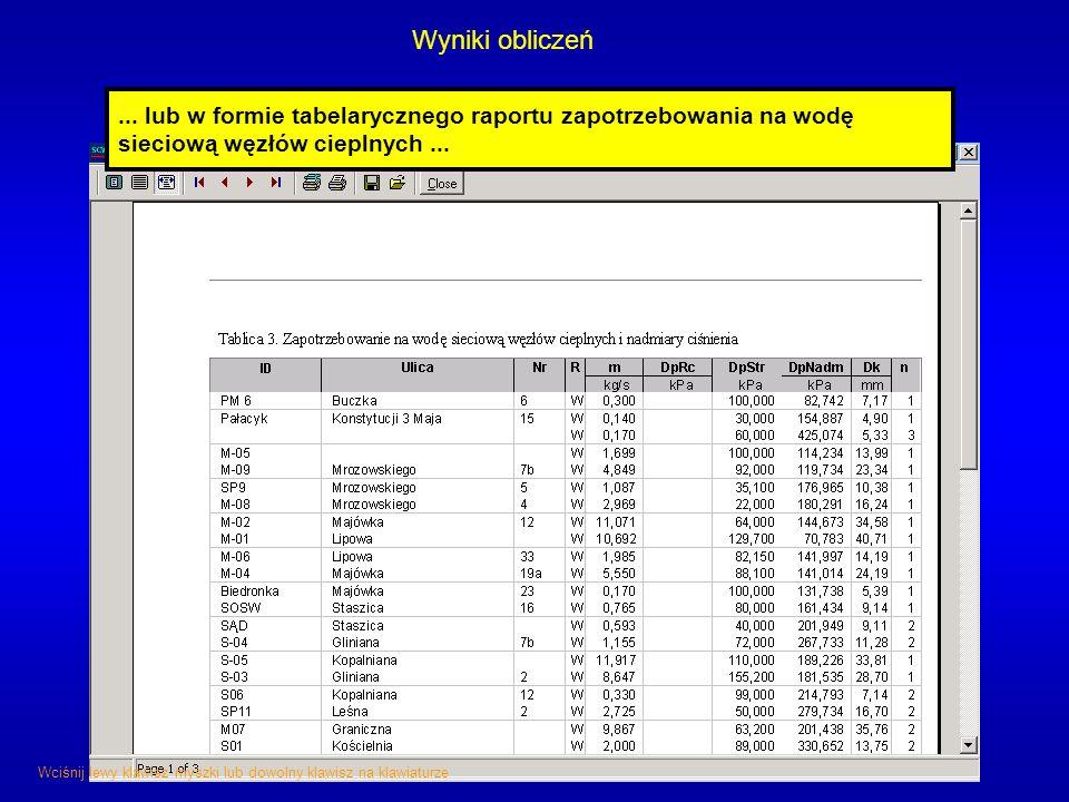 Wyniki obliczeń ... lub w formie tabelarycznego raportu zapotrzebowania na wodę sieciową węzłów cieplnych ...