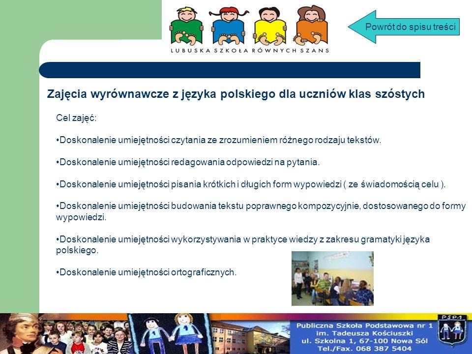 Zajęcia wyrównawcze z języka polskiego dla uczniów klas szóstych