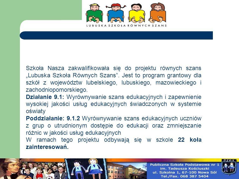 """Szkoła Nasza zakwalifikowała się do projektu równych szans """"Lubuska Szkoła Równych Szans . Jest to program grantowy dla szkół z województw lubelskiego, lubuskiego, mazowieckiego i zachodniopomorskiego."""
