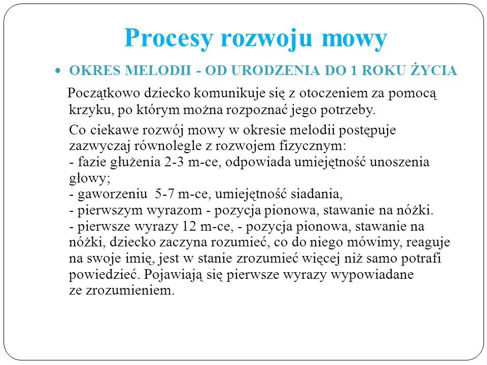 Procesy rozwoju mowy OKRES MELODII - OD URODZENIA DO 1 ROKU ŻYCIA.
