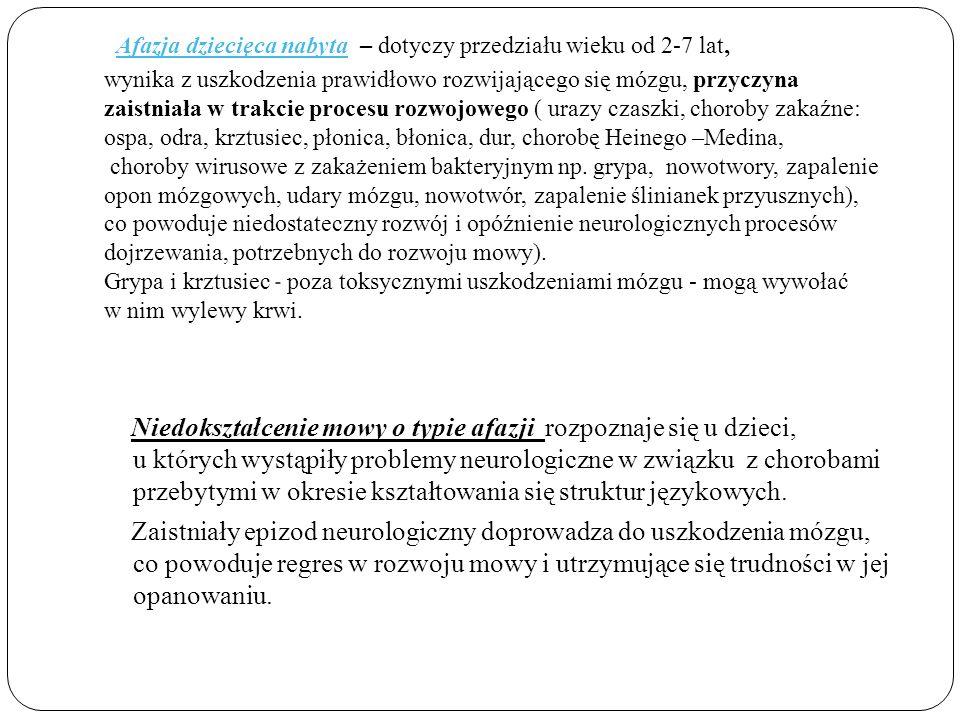 · Afazja dziecięca nabyta – dotyczy przedziału wieku od 2-7 lat, wynika z uszkodzenia prawidłowo rozwijającego się mózgu, przyczyna zaistniała w trakcie procesu rozwojowego ( urazy czaszki, choroby zakaźne: ospa, odra, krztusiec, płonica, błonica, dur, chorobę Heinego –Medina, choroby wirusowe z zakażeniem bakteryjnym np. grypa, nowotwory, zapalenie opon mózgowych, udary mózgu, nowotwór, zapalenie ślinianek przyusznych), co powoduje niedostateczny rozwój i opóźnienie neurologicznych procesów dojrzewania, potrzebnych do rozwoju mowy). Grypa i krztusiec - poza toksycznymi uszkodzeniami mózgu - mogą wywołać w nim wylewy krwi.