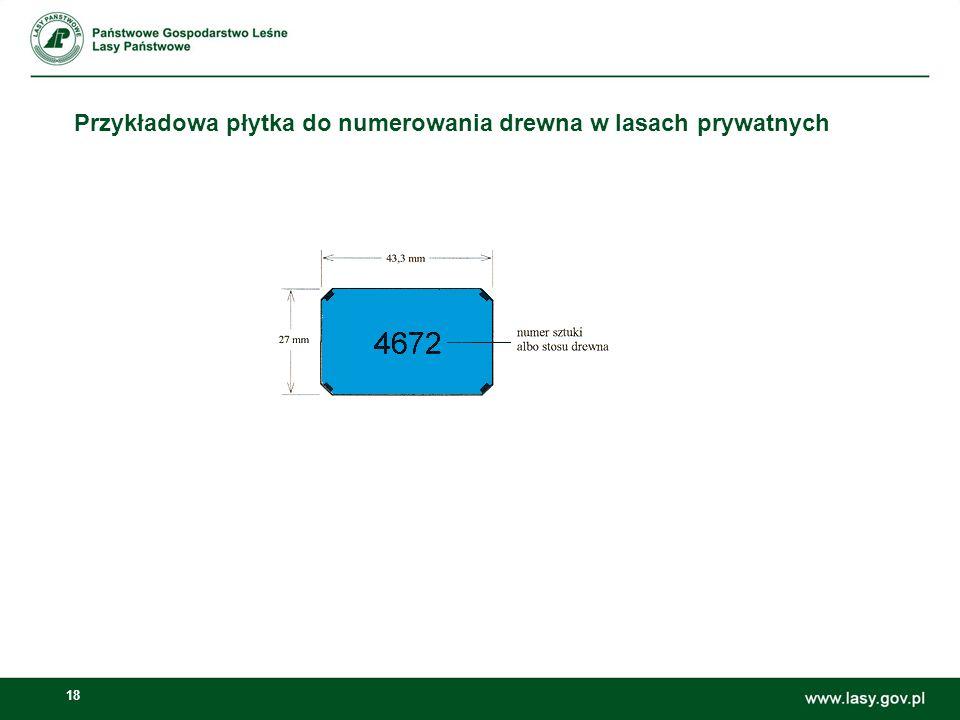 Przykładowa płytka do numerowania drewna w lasach prywatnych