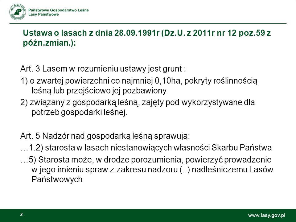 Ustawa o lasach z dnia 28. 09. 1991r (Dz. U. z 2011r nr 12 poz