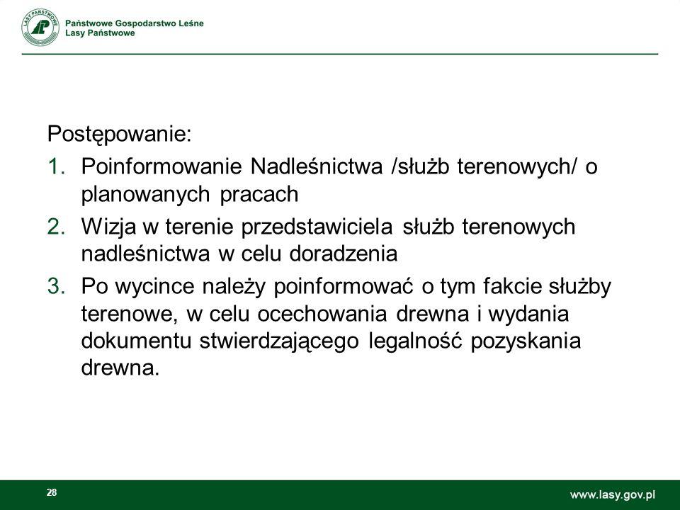 Postępowanie: Poinformowanie Nadleśnictwa /służb terenowych/ o planowanych pracach.