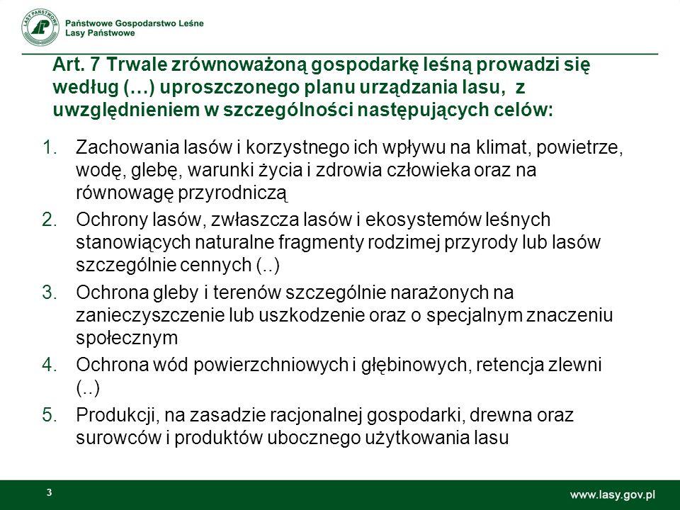 Art. 7 Trwale zrównoważoną gospodarkę leśną prowadzi się według (…) uproszczonego planu urządzania lasu, z uwzględnieniem w szczególności następujących celów: