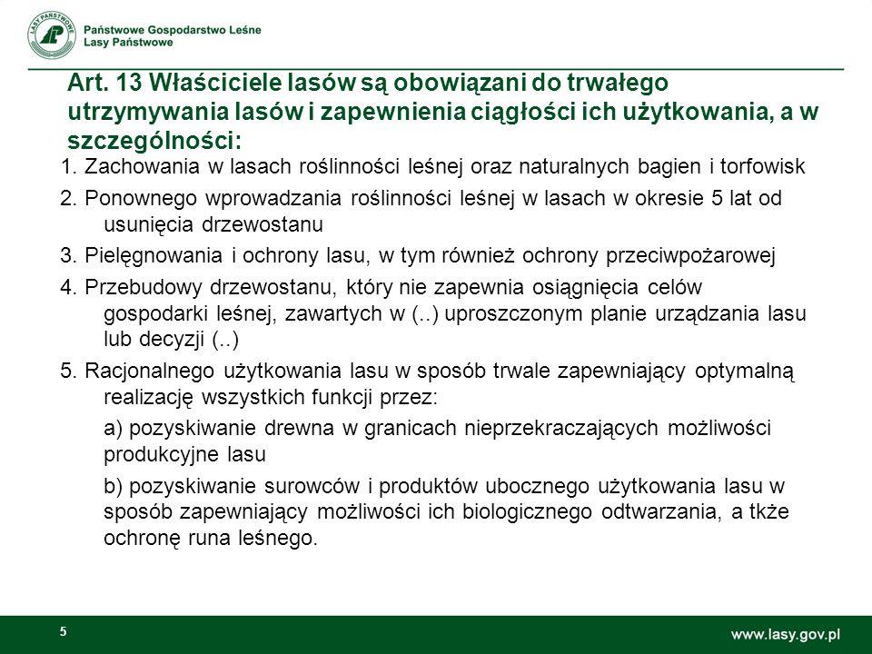 Art. 13 Właściciele lasów są obowiązani do trwałego utrzymywania lasów i zapewnienia ciągłości ich użytkowania, a w szczególności: