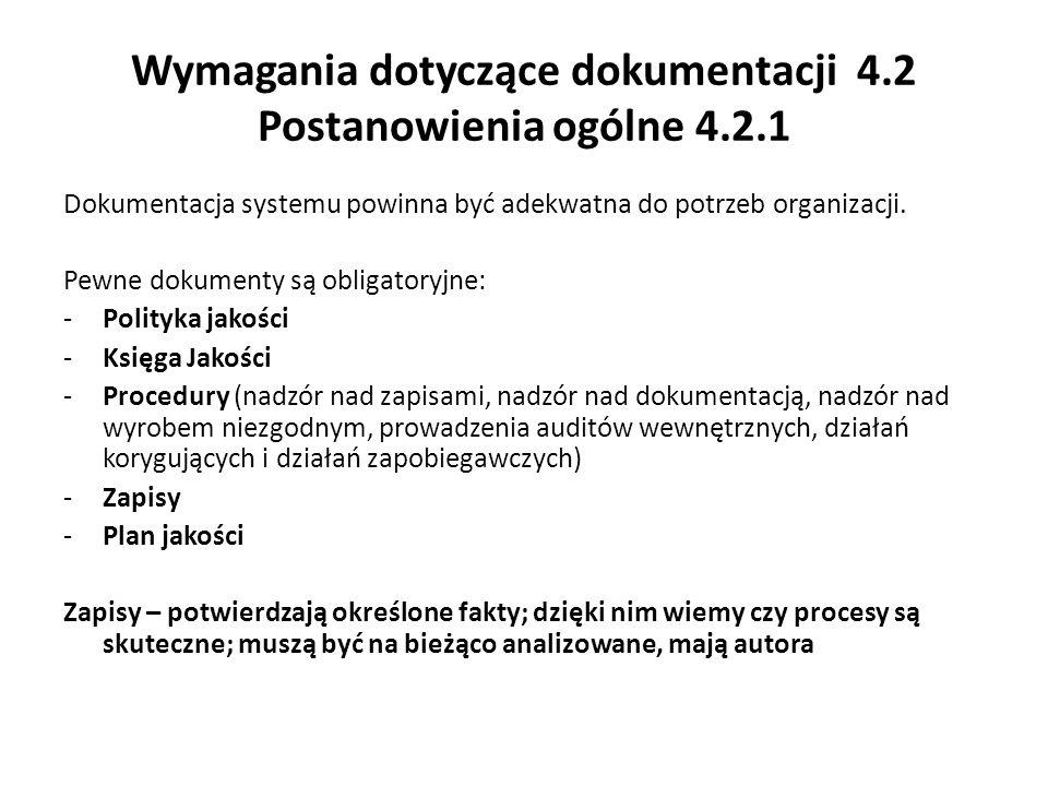 Wymagania dotyczące dokumentacji 4.2 Postanowienia ogólne 4.2.1