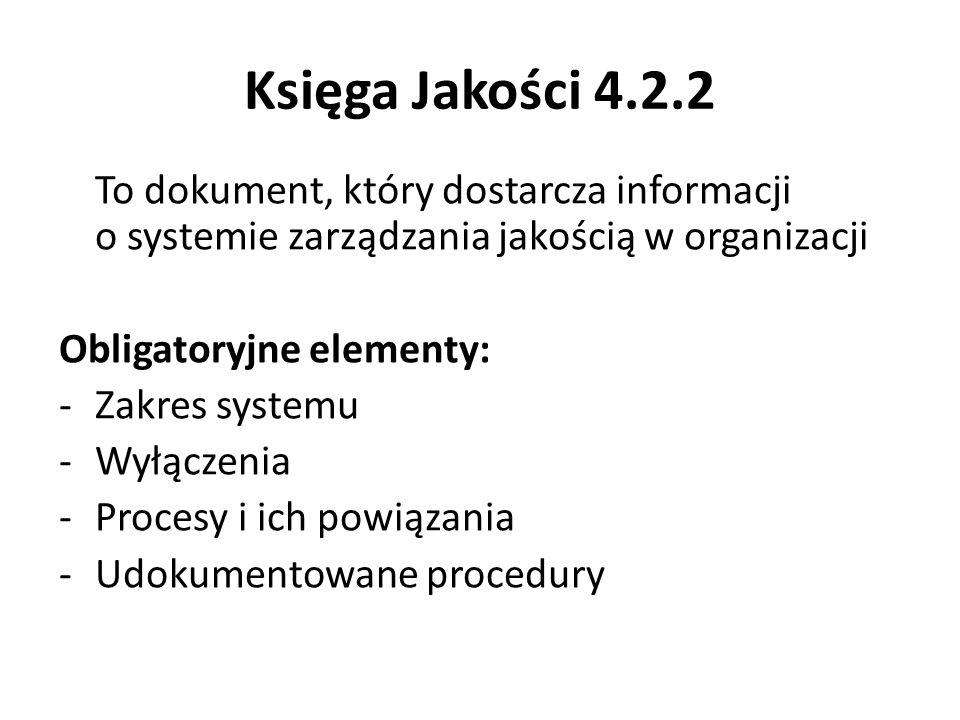 Księga Jakości 4.2.2 To dokument, który dostarcza informacji o systemie zarządzania jakością w organizacji.