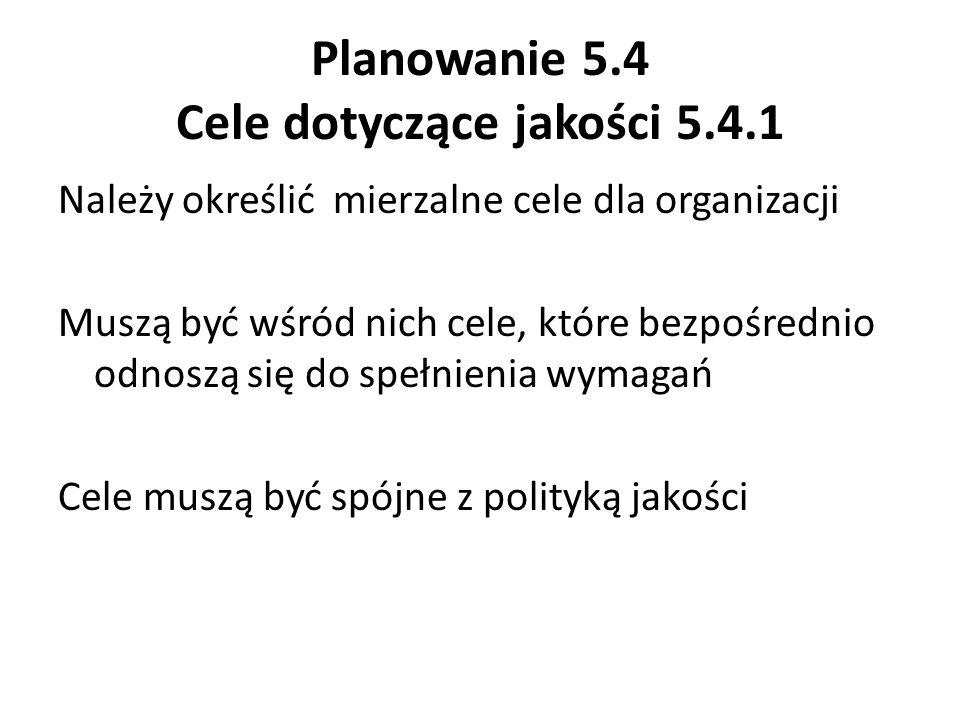 Planowanie 5.4 Cele dotyczące jakości 5.4.1
