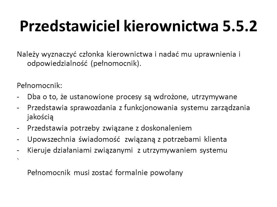 Przedstawiciel kierownictwa 5.5.2