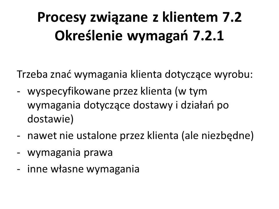 Procesy związane z klientem 7.2 Określenie wymagań 7.2.1